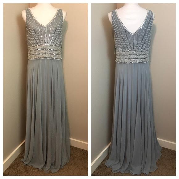 JKARA Dresses | Beaded Chiffon Gown Dress | Poshmark